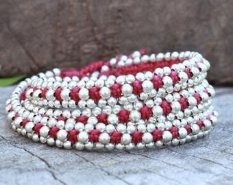 Silver Triple Wrap Dark Pink Bracelet