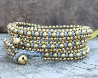 Brass Triple Wrap Grey Bracelet