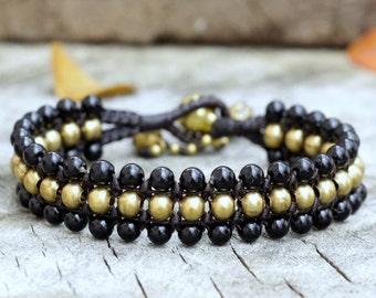 Black Flat Brass Bracelet