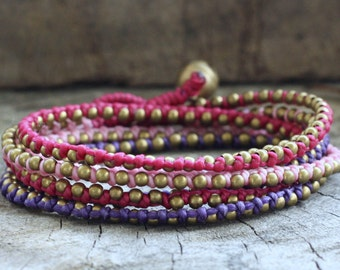 Raspberry Brass Hip Double Wrap Bracelet
