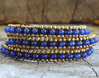 Blue Quartz Triple Wrap Brass Bracelet