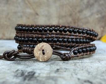 Black 3 Wrap Leather Bracelet, coconut button