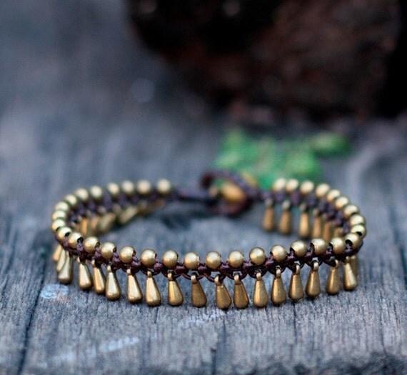 Teardrop Brass Bead Bracelet