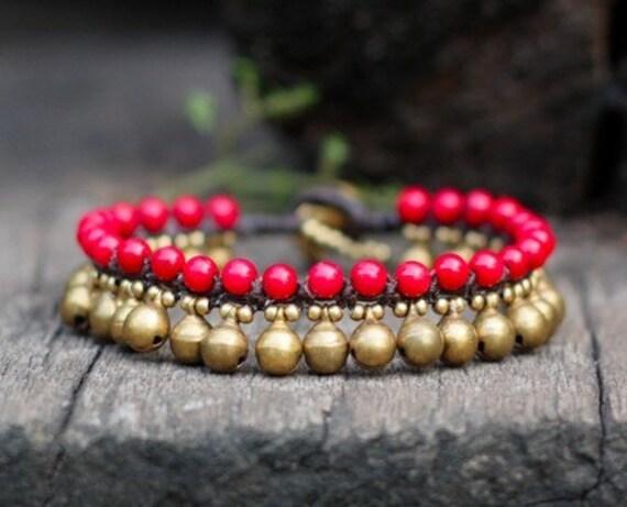 Coral Brass Bell Bracelet