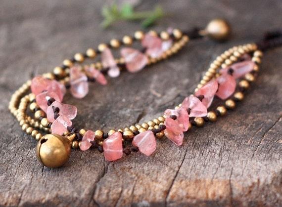 Cherry Quartz Brass Chain Bracelet
