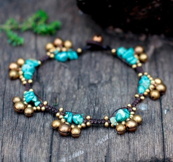 Turquoise Bell Group Anklet
