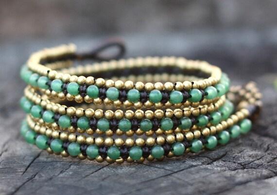 Jade Wrap Around Brass Bracelet/Anklet