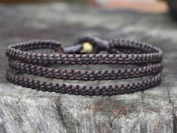 Triple Dark Brown Cord Unisex Bracelet