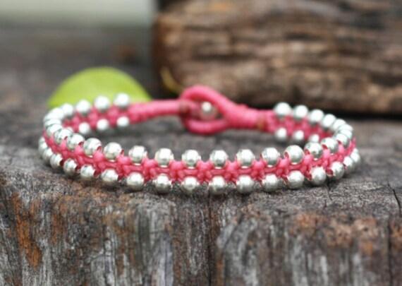 Charm Silver Pink Bracelet