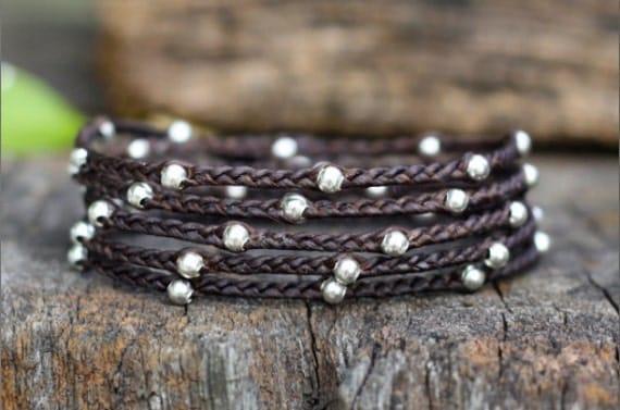 Braid 5 Wrap Silver Unisex Bracelet