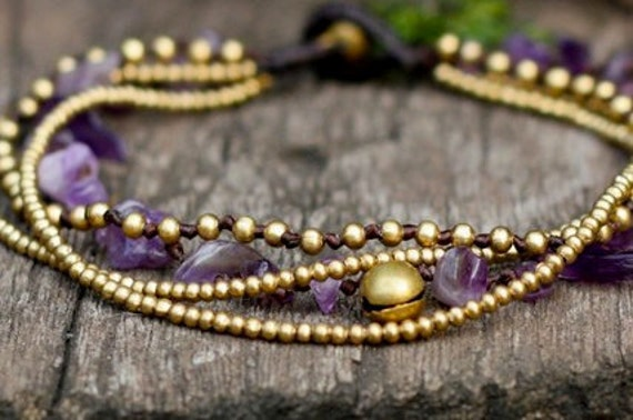 Amethyst Brass Chain Anklet