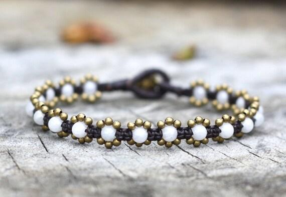 Elfin Pearl Agate Brass Bracelet