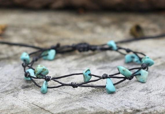 Simple Turquoise Black Cord Bracelet