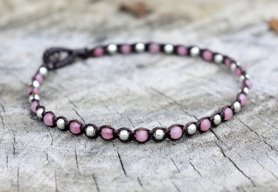 One Line Rose Quartz Silver Anklet/ Choker Necklace