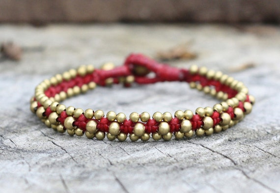 Viola Brass Dark Red Bracelet