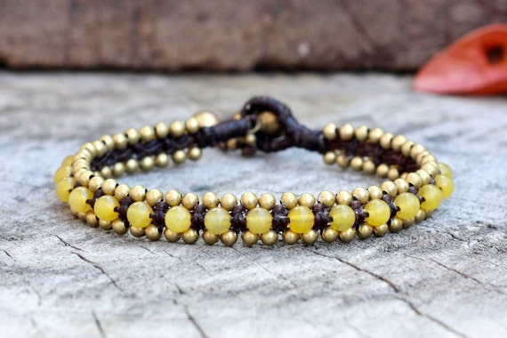 Lemon Bead Brass Bracelet