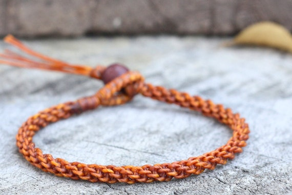Simple Rust Brown Woven Unisex Bracelet