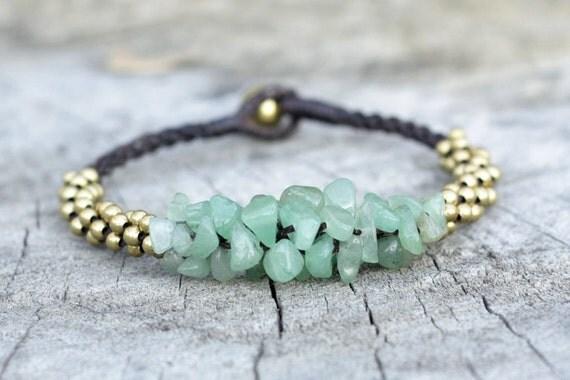 Jade Stone Brass Bracelet