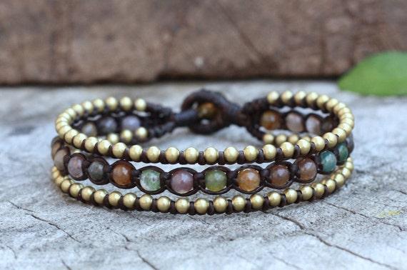 fancy Jasper Boho Brass Bracelet
