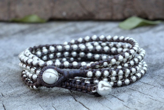 Dark Brown Silver Hip Double Wrap Bracelet