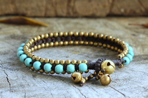 Turquoise Bead Brass Bracelet