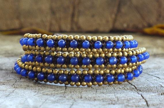 Azul Triple Wrap Brass Bracelet