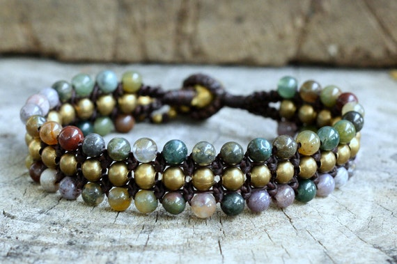 Fancy Jasper Flat Brass Bracelet