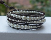 Handmade Graduated Pearl and Silver Brown Leather Wrap Bracelet