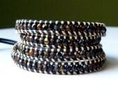 Handmade Chroust Czech Beaded Leather Wrap Bracelet