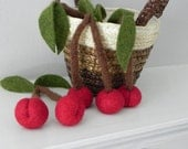 Red Play Cherries - Felted Wool Toy Play Food