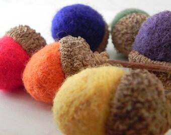 Rainbow Felted Wool Acorns - Set of 6 - Fuzzy Caps