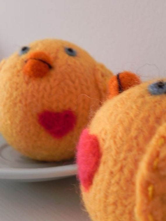 Plush Felt Toy Baby Chick -Hand Knit & Felted Wool Toy - READY TO SHIP