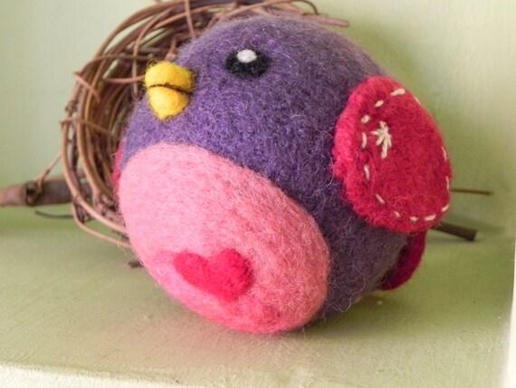 Plush Felt Bird Baby Rattle - Hand Knit & Needle Felted Wool Baby Toy