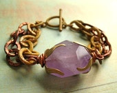 Her Majestys Desire - Patinated Chain and Amethyst Bracelet