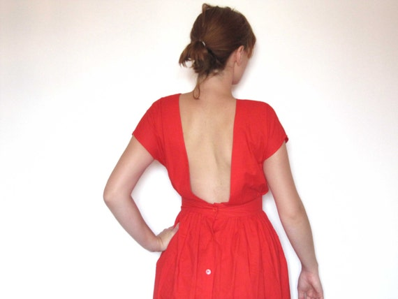 Square red dress