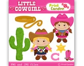 Little Cowgirl -  Digital Clip Art - Personal and Commercial Use - scrapbooking, horse shoe, boot, sheriff badge, rope