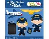Little Airline Pilot - Digital Clip Art - Personal and Commercial Use - printable graphics scrapbooking design elements