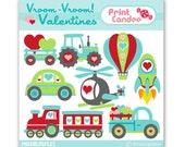 Vroom Vroom Valentines - Digital Clip Art - valentines day for boys cars trucks train transportation clipart