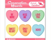 Valentines Conversation Hearts -  Digital Clip Art - Personal and Commercial Use - valentines day candy hearts