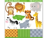 Cute Jungle Animals - Digital Clip Art - Personal and Commercial Use - safari animals lion tiger giraffe zebra