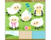 Cute Sheep - Digital Clip Art - Personal and Commercial Use - lamb farm animal counting sheep