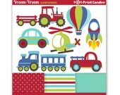 Vroom Vroom Transportation -  Digital Clip Art - Personal and Commercial Use - cars trucks helicopter tractor train