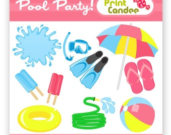 Pool Party - Digital Clip Art - Personal and Commercial Use - snorkel summer beach ball umbrella hose splash float