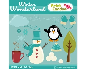Winter Wonderland -  Digital Clip Art - Personal and Commercial Use - design elements, cupcake topper