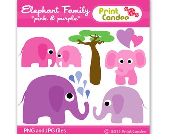 Elephant Family (Pink & Purple) - Digital Clip Art - Personal and Commercial Use