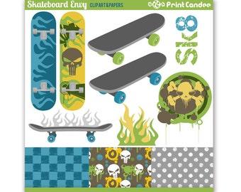 Skateboard Envy - Digital Clip Art - Personal and Commercial Use - skate board, punk, sk8, skater, grunge