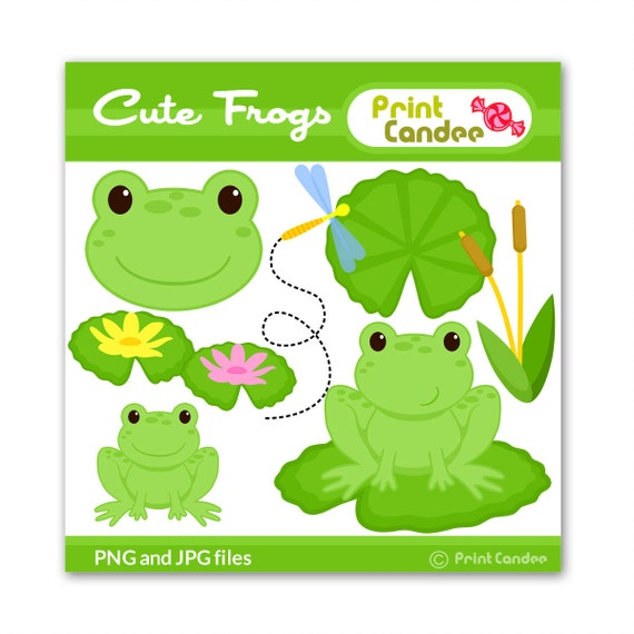 Cute Frogs - Digital Clip Art - Personal and Commercial Use - frog lily pad dragonfly pond cute animals nursery pattern
