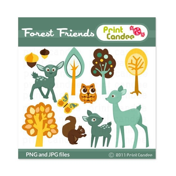 Forest Friends (Turquoise & Yellow) - Digital Clip Art - Personal and Commercial - paper crafts card making scrapbooking