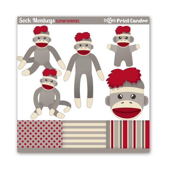 Sock Monkeys - Digital Clip Art - Personal and Commercial Use - sock monkey stuffed animal toy