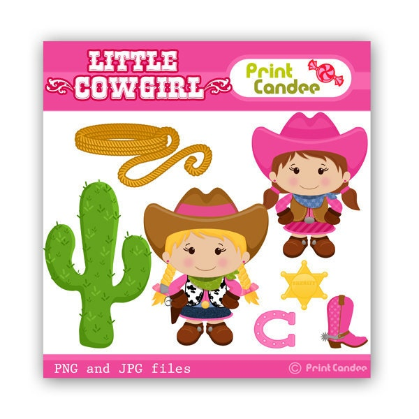 Little Cowgirl Digital Clip Art Personal and Commercial